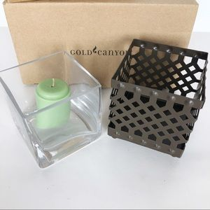 Gold Canyon Lattice Candle Holder w/ Glass Insert.